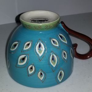 NWOT Pier 1 Hand-Painted Peacock Feather 16oz Mug